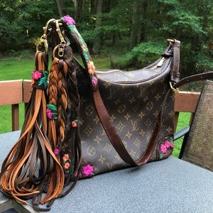 Auth Louis Vuitton Boulogne 30 Boho Revamp upcycle